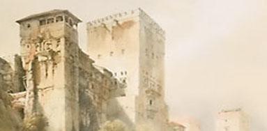 Dibujo de la Alhambra: torre de Comares y Peinador de la Reina