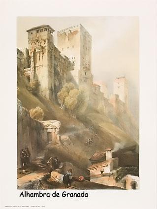 Dibujo de la Alhambra de granada: torre de Comares y Peinador de la Reina