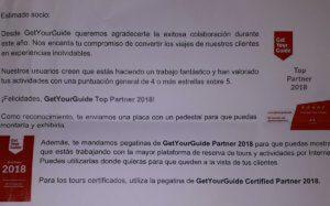 Premio Toppartner 2018 Getyourguide