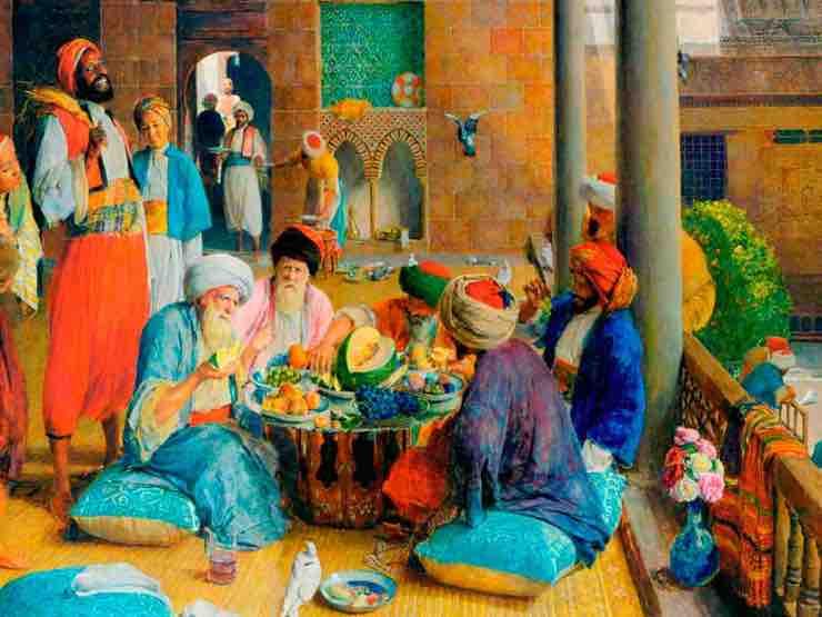 cuadro de personas disfrutando la gastronomía Andalusí