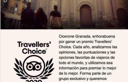 cicerone granada recibe el premio travelers choice y se coloca entre los mejores operadores de granada