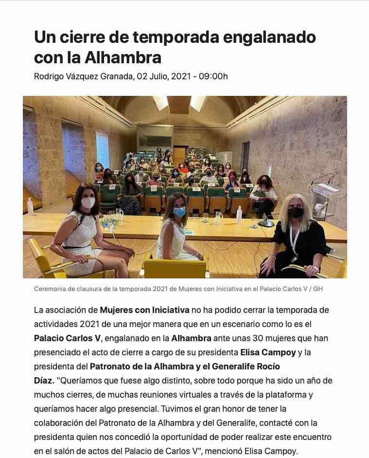 Cicerone colabora en el evento Mujeres con iniciativa con un tour nocturno guiado por la Alhambra